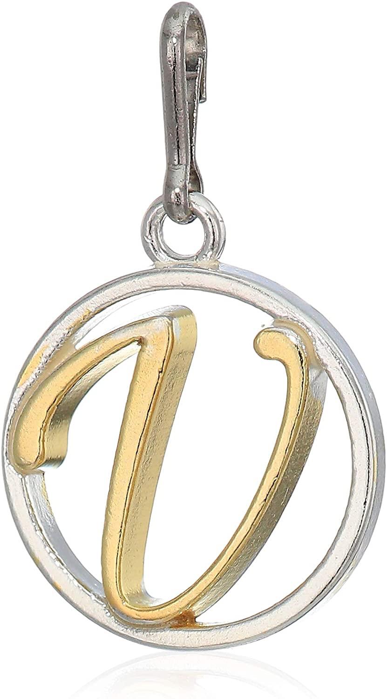 レディースジュエリー・アクセサリー, ブレスレット  Alex and Ani Womens Initial V Two Tone Charm Sterling Silver, Expandable