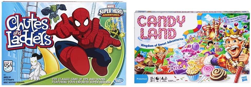 ファミリートイ・ゲーム, ボードゲーム  Hasbro Gaming Marvel Spider-Man Web Warriors Chutes Ladders Game Gaming Candy Land Kingdom of Sweet Adventures Board Game for Kids Ages 3 Up (Amazon E