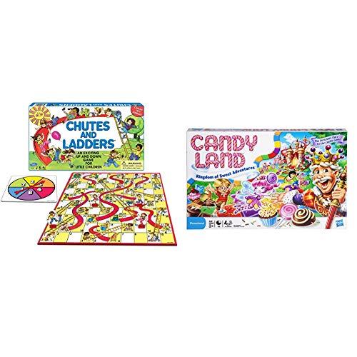 ファミリートイ・ゲーム, ボードゲーム  HASBRO GAMING:Chutes and Ladders Board Game Gaming Candy Land Kingdom of Sweet Adventures Board Game for Kids Ages 3 Up (Amazon Exclusive),Red,Original