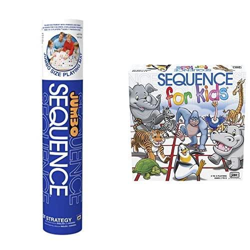 ファミリートイ・ゲーム, ボードゲーム  Jax Jumbo Sequence Game - Tube Edition with Cushioned Mat, Cards and Chips Sequence for Kids -- The No Reading Required Strategy Game by Jax