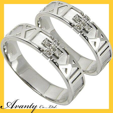 【Avanty】●送料無料:ペアリング2本セットローマ数字デザインダイヤリング/K18WG:K18ホワイトゴールド:ジュエリー アヴァンティ