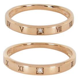 マリッジリング結婚指輪ペア2本セット1粒ダイヤモンド0.01ctK10ピンクゴールドK10PGペアリング