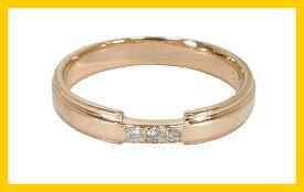 【Avanty】2本セット:マリッジリング結婚指輪:スリーストーン:0.04ct/K10ピンクゴールド:K10PG