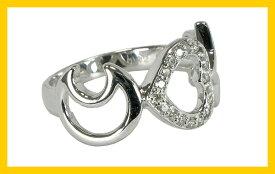 【Avanty】K18ホワイトゴールド:ダイヤ:0.12ct:ハート&スター&月:天然ダイヤリング