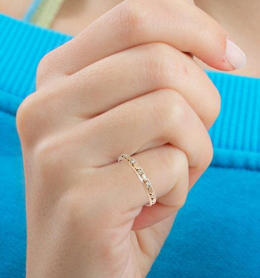 【5%OFFクーポン】9/13迄ハートピンキーリングピンクゴールドダイヤモンド0.03ctK10ピンクゴールドホワイトゴールドイエローゴールドK10PGK10WGK10YG10金ハートリングピンキーリング指輪ダイヤレディース