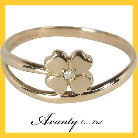 【Avanty】2連クローバーダイヤリング:0.01ct:K18ピンクゴールド