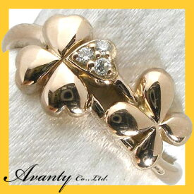 【Avanty】K18ピンクゴールド0.03ct:ダブルクローバーダイヤリング