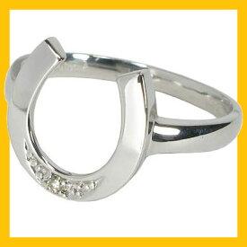 【Avanty】K18WG:馬蹄ダイヤリング:0.01ct:1石:K18ホワイトゴールド