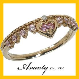 【Avanty】ピンクゴールド:ルビー・ピンクサファイア・ハートクラウン王冠ダイヤリング