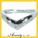 【Avanty】K18WG:V型ダイヤリング:0.1ct/K18ホワイ...