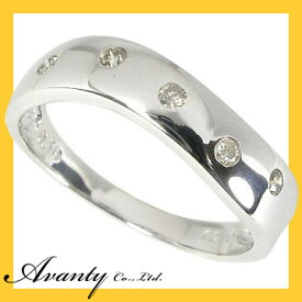 【Avanty】K10WG:平打ウェーブダイヤリング:0.1ct/K10ホワイトゴールド
