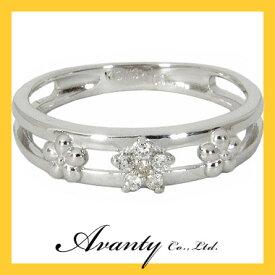 【Avanty】K10WG:2連:お花フラワーピンキーリング:0.03ct/K10ホワイトゴールド