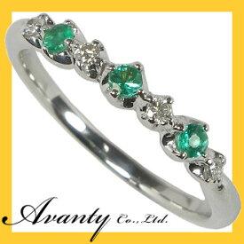 【Avanty】5月誕生石/エメラルドスリーストーン&ダイヤリング/K18ホワイトゴールド