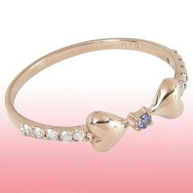 0.1ctダイヤモンド&12月誕生石タンザナイトリボンリングリボンピンキーリングK10ピンクゴールドK10PG