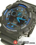 カシオ CASIO G-SHOCK Gショック ジーショック 腕時計 メンズ 海外モデル GA-100-1A2DR ブラック 黒×ブルー 【男性用腕時計 スポーツ アウトドア リストウォッチ ランキング ブランド 防水 カラフル】