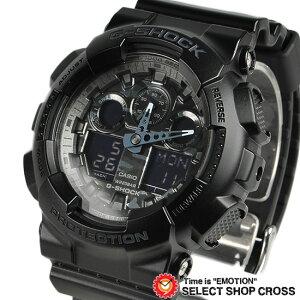【お取寄せ】 G-SHOCK CASIO カシオ Gショック メンズ 腕時計 アナデジ ビッグケース GA-100CF-1ADR ブラック カモフラージュ 海外モデル