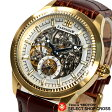 EARNSHAW アーンショウ 腕時計 オートマティック 自動巻き フルスケルトン シルバー×イエローゴールド/ブラウンレザー ES-8039-03 【あす楽】