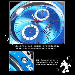 Disneyディズニーミッキーメンズ腕時計MK80周年記念時計1050147スワロフスキー付きメタルバンドピンクMK1050147-pk
