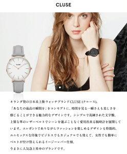 CLUSEクルースLABOHEMEラ・ボエームユニセックスアナログ革ベルト腕時計38mmブラックホワイト選べる20カラー
