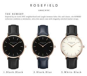 Rosefieldローズフィールド腕時計ユニセックスメンズレディースアナログレザーベルト38mmブラックホワイトゴールド選べる13色