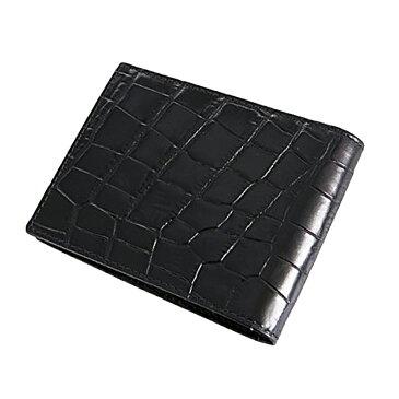 エッティンガー ETTINGER 二つ折り財布 短財布 小銭入れ付き クロコ型押しレザー エボニー メンズ ブラック CC141J-EBONY