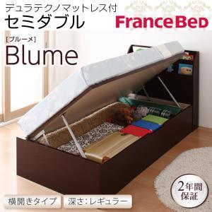 開閉&深さが選べるガス圧式跳ね上げ収納ベッド【Blume】 ブルーメ・レギュラー SD 【横開き】デュラテクノマットレス付