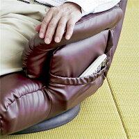 スーパーソフトレザー座椅子【神楽】13段リクライニング/ハイバック/360度回転肘掛け日本製ブラック(黒)【完成品】【】
