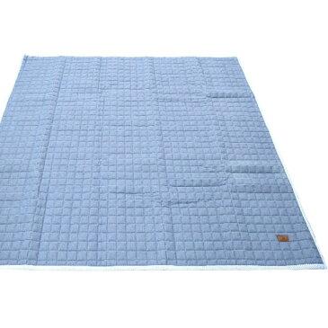 デニム生地 ラグマット/絨毯 【190cm×240cm ライトブルー】 長方形 綿100% ストライプ柄 キルティング 洗える 『ジーンズ』