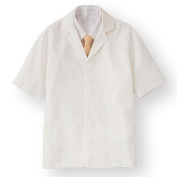ワッフル白衣半袖 ホワイト KMH2742-1 Lサイズ