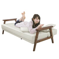 ソファーベッド【シングルサイズ】PVCレザー(合皮)クッション2個/肘付きダークブラウン【】