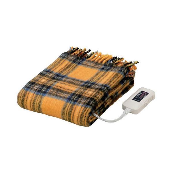 かわいい電気ひざ掛け毛布 ダニ退治機能/室温センサー付き 洗濯可 日本製 長方形 82cm×140cm イエロー(黄)【代引不可】