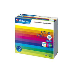 バーベイタム データ用CD-R700MB ワイドプリンタブル 5mmスリムケース SR80SP10V1C 1箱(100枚:10枚×10個)