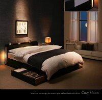 収納ベッドダブル【CozyMoon】【デュラテクノマットレス付き】ウォルナットブラウンスリムモダンライト付き収納ベッド【CozyMoon】コージームーン