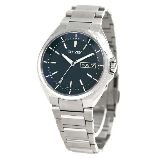 AT6050-54L シチズン アテッサ エコドライブ 電波時計 メンズ 腕時計 チタン カレンダー CITIZEN ATESSA ネイビー 時計 送料無料