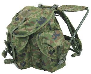 戦人-senjin- 陸上自衛隊迷彩バッグ+簡易イスのセット地面が濡れているときに重宝します!大容...