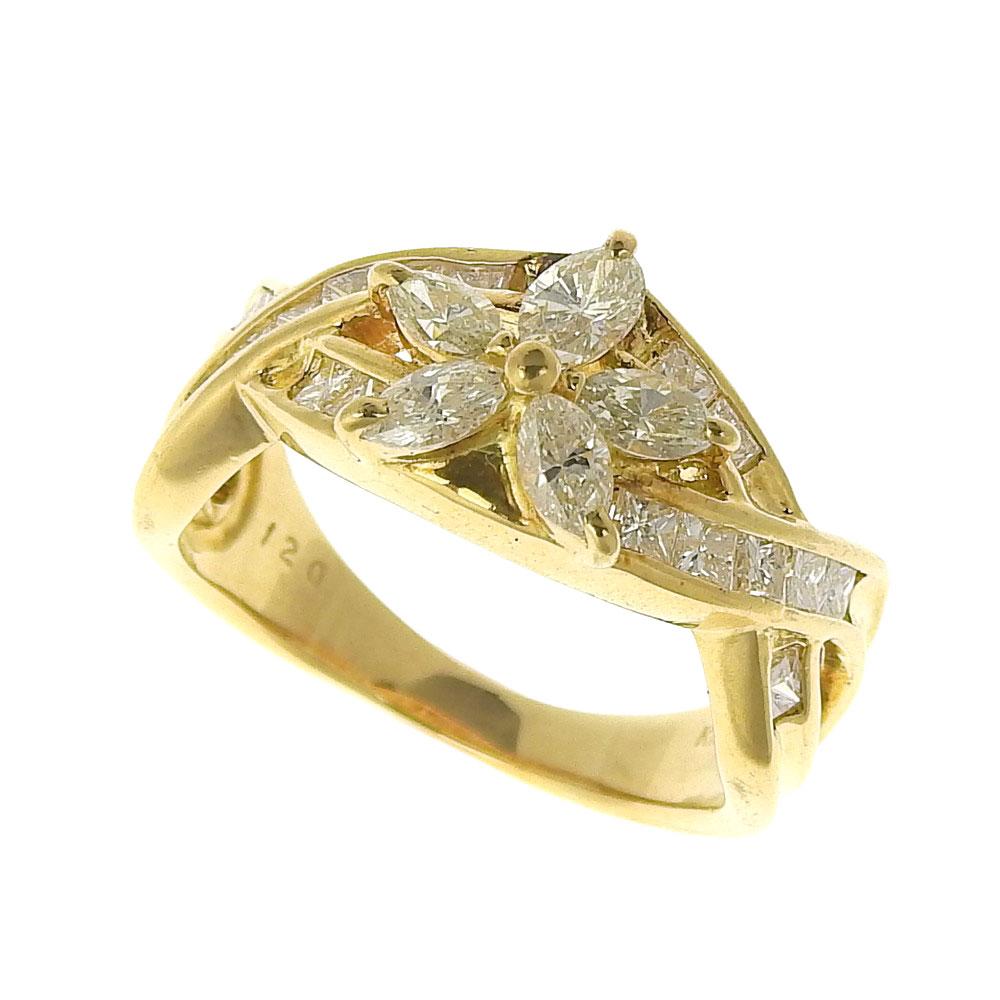 【大幅値下げ!】 超美品 フラワー リング 指輪 K18 ダイヤモンド 1.20ct 11.5号 【中古】 ノーブランド No brand【ポイント2倍&送料無料】