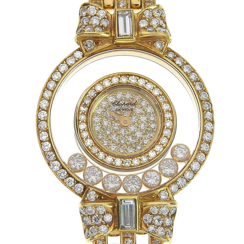 【本物保証】 超美品 ショパール CHOPARD ハッピーダイヤモンド レディース クォーツ 腕時計 裏ボタン 全面ダイヤ 20201/03 OH済 44.7g 【中古】