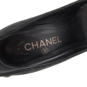 【本物保証】美品シャネルCHANELパンプスヒールココマークスエード黒サイズ37Cロゴ靴レディース