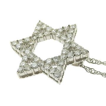 【本物保証】超美品ノーブランドOTHERBRAND星スターネックレスプラチナPt1000メレダイヤモンド1.07ct