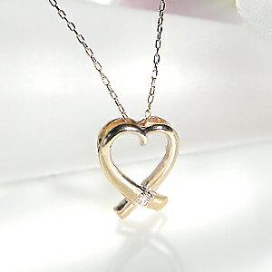 ファッション ジュエリー アクセサリー レディース ネックレス ハート ゴールド ホワイトゴールド イエローゴールド ピンクゴールド ダイヤモンド ダイヤ ネックレス ダイヤ ペンダント K10 4月誕生石 送料無料 品質保証書 プレゼント ホワイトデー *