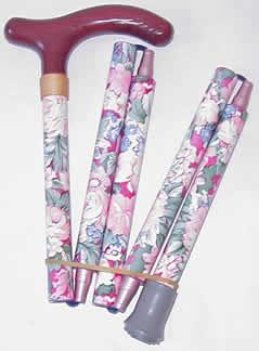 5段折りたたみステッキ(杖) 木製・ピンク 【送料無料】「楽天シニア市場」