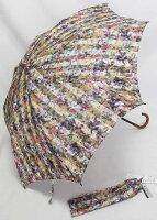 「マンハッタナーズ日傘(晴雨兼用:遮光生地使用の遮光傘)折りたたみミニハート&ピースブラック」【送料無料】