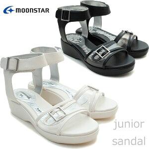 【ムーンスター】SGC465ジュニアサンダル子供靴女の子Moonstarシュガータイプアンクルベルトマジックタイプ厚底グラディエーターアップルワンピースブラック(黒)アニモルホワイト(白)モル