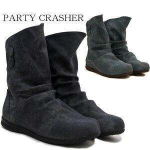 レインブーツ レディース JFC516 PARTY CRASHER ショートブーツ レインシューズ ローヒール 防水 撥水 雨靴 柔らかい ブラック(黒) ブルー デニム /MR /RU