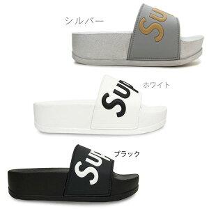 【Lovevenus】トーコー19517レディースサンダルミュール靴シャワーサンダルスリッパビーチサンダルラバー厚底フラットソールフットベットペタンコモノトーンブラック(黒)ホワイト(白)アニ
