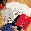 レトロミッキープリントアメカジTシャツ!Tシャツレディースミッキー半袖プリントビンテージ風レトロかすれカットソートップスレッドホワイトブラックグレー新作