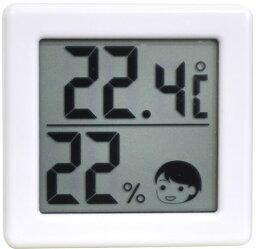 【送料無料】DRETEC 【熱中症・インフルエンザの危険度の目安を表情でお知らせ】 小さいデジタル温湿度計 ホワイト O-257WT【CP】