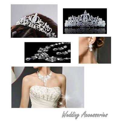 上品で華やかなウェディングティアラ&(ピアスorイヤリング)+ネックレス豪華3点セット結婚式、二次会、パーティーに