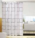 シャワーカーテン 防水防カビ加工 カーテンリング付属 白黒スクエア