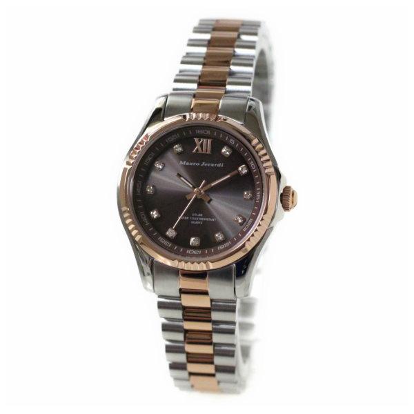レディス腕時計 ソーラーパワー 5気圧防水 マウロ・ジェラルディ ピンクゴールドコンビ ブラウン文字盤 MJ038-1 ギフト プレゼント 贈答品
